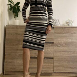 Pruhované úpletová šaty