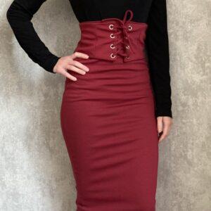 Vínová elastická sukně BERSHKA