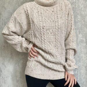 Béžový vlněný rolákový svetr 17